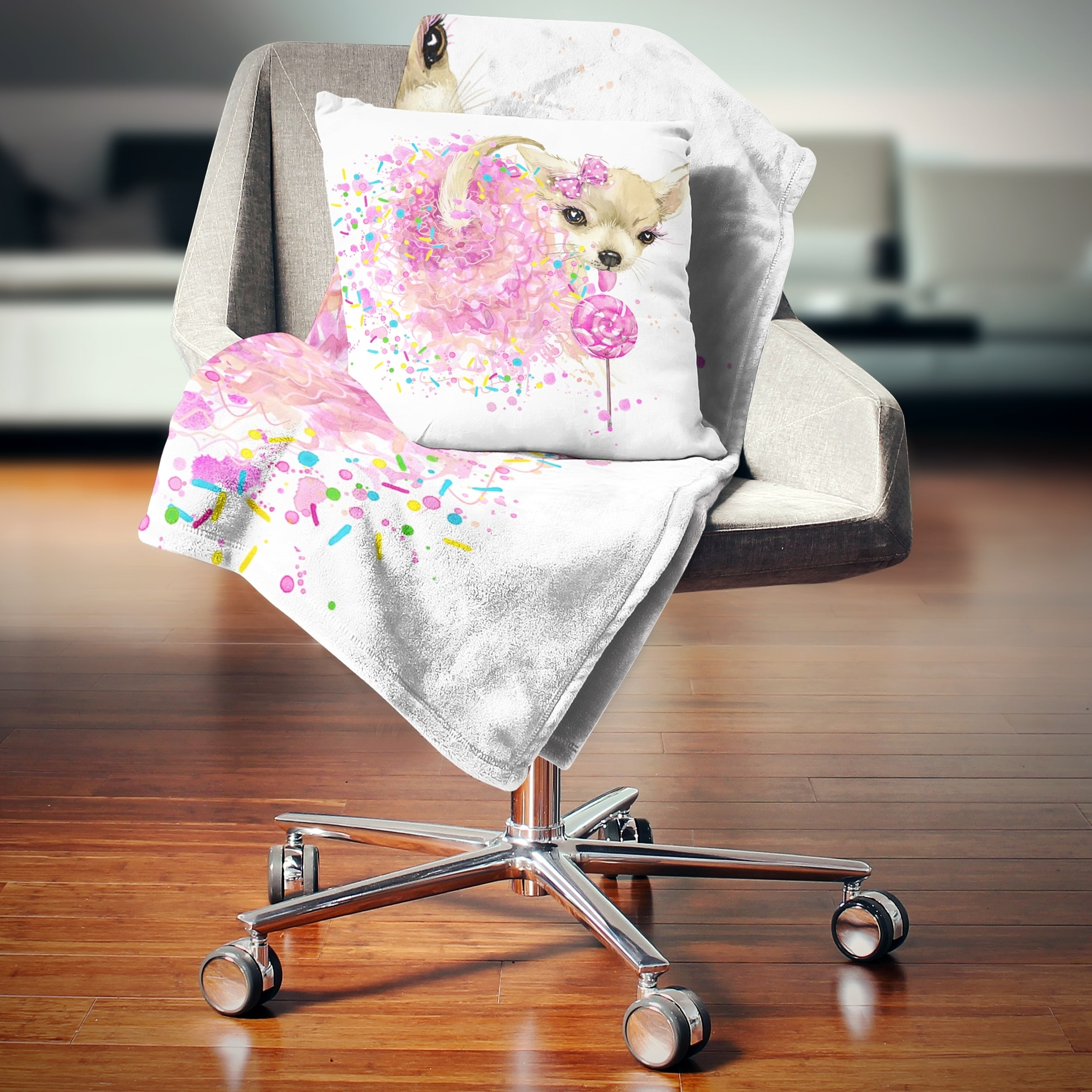 Designart Sweet Pink Dog Without Glasses Animal Throw Blanket On Sale Overstock 20916271 59 In X 71 In