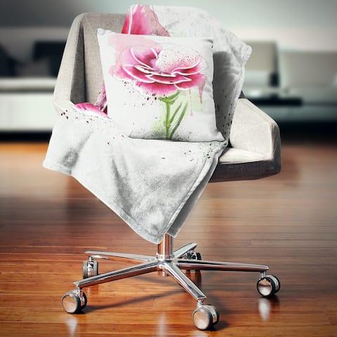 Designart 'Pink Hand drawn Watercolor Flower' Floral Throw Blanket