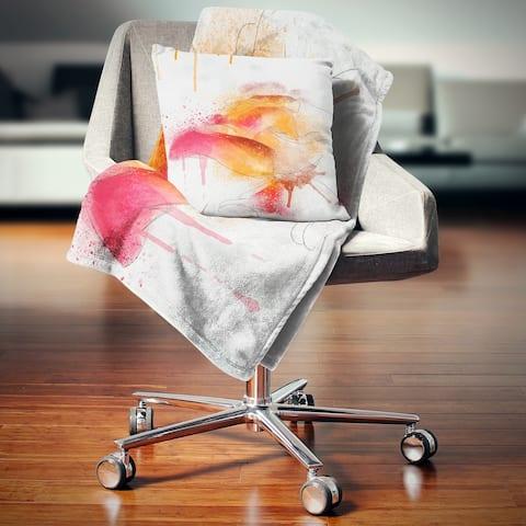 Designart 'Orange Rose Illustration Watercolor' Floral Throw Blanket
