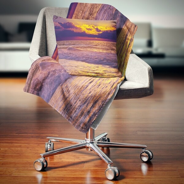 Designart 'Clouds in Bright Sunshine at Sunset' Landscape Fleece Throw Blanket. Opens flyout.