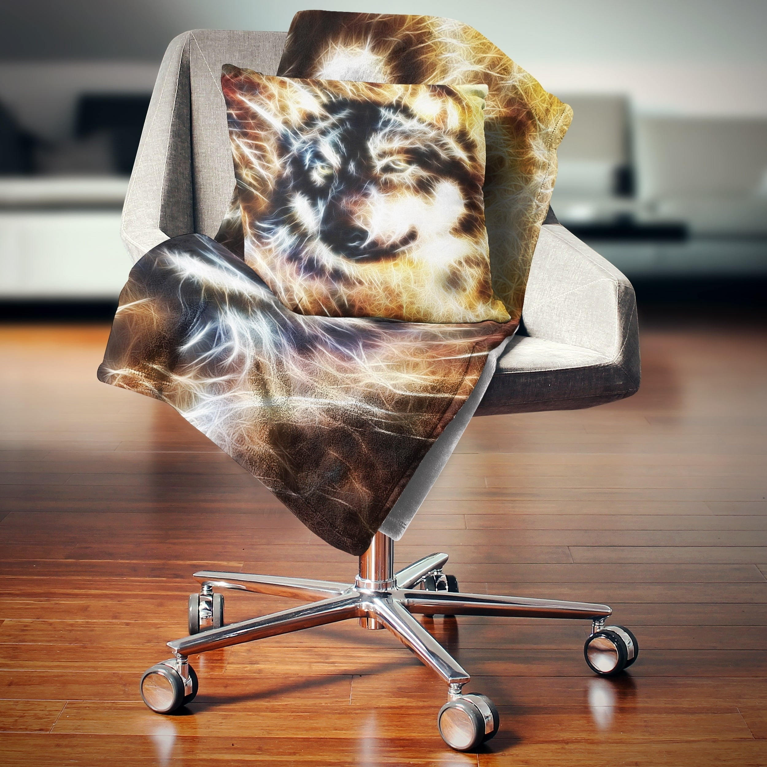 Designart Wolf Multicolor Collage Abstract Throw Blanket On Sale Overstock 20916991 59 In X 71 In