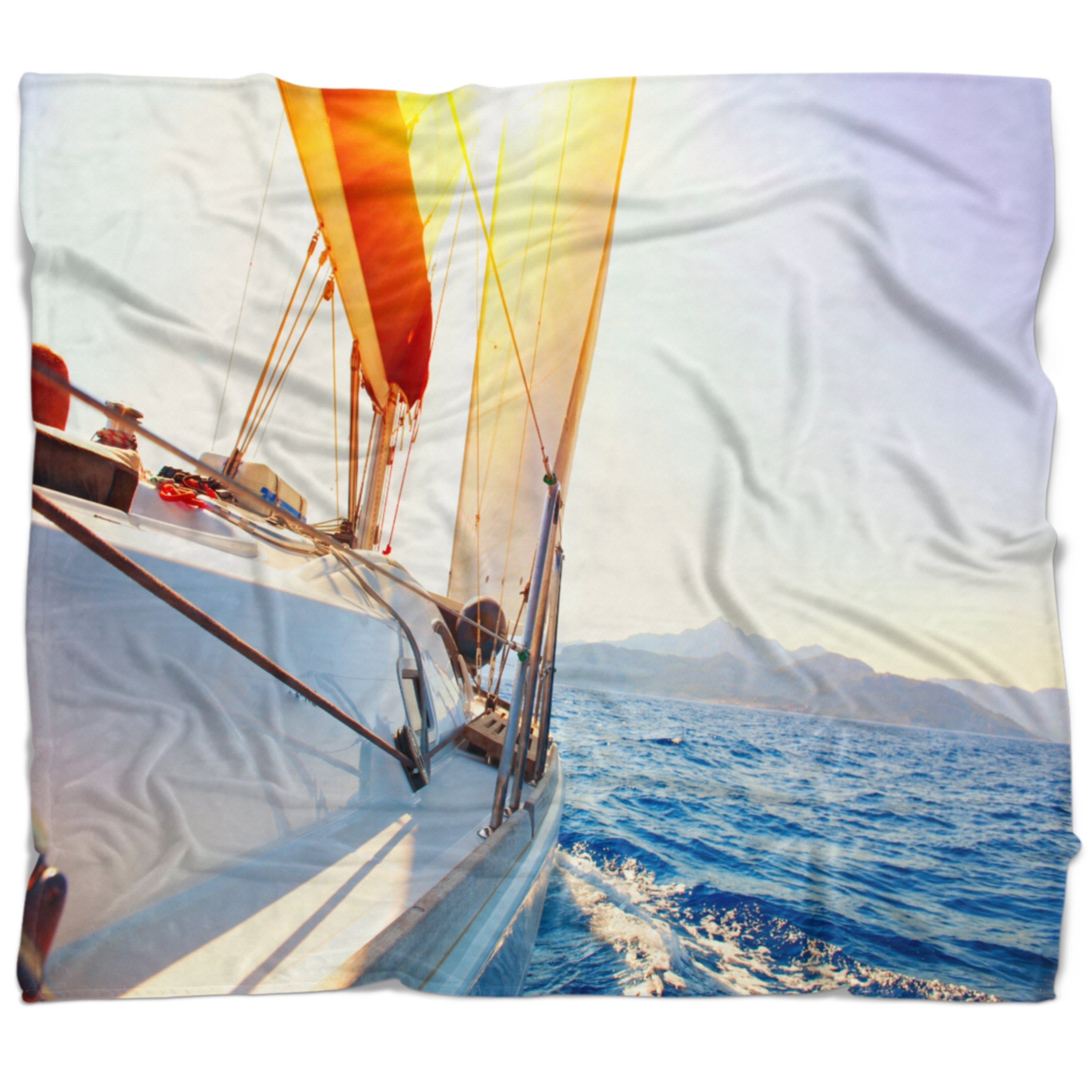 Designart Sailboat Sailing In The Blue Sea Seashore Throw Blanket On Sale Overstock 20917113 71 In X 59 In