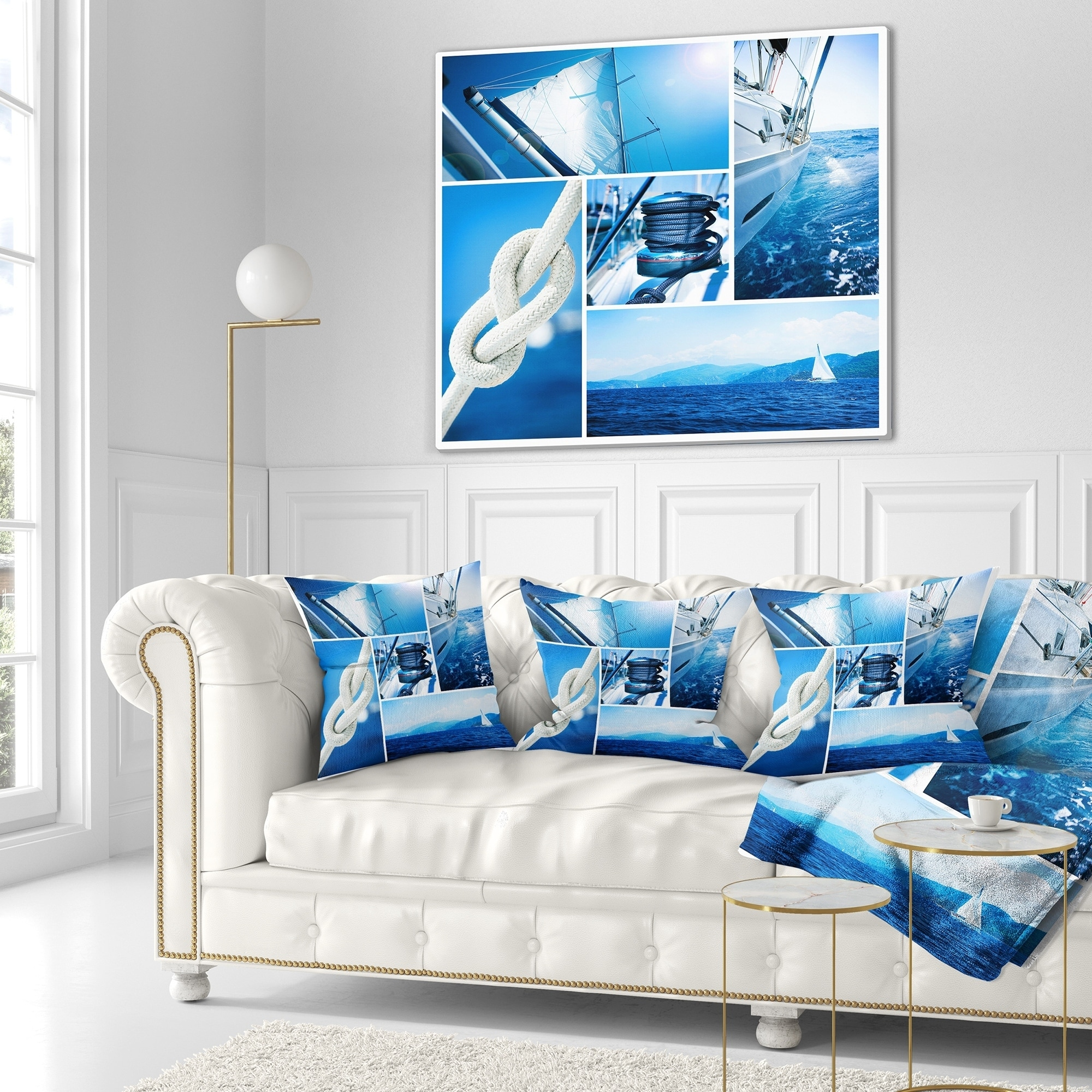 Designart Sailing Yacht In Blue Sea Collage Seashore Throw Blanket On Sale Overstock 20917129 71 In X 59 In