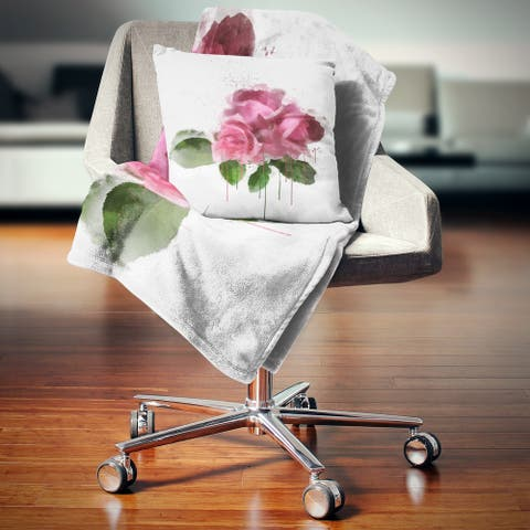Designart 'Bunch of Pink Roses with Leaves' Floral Throw Blanket