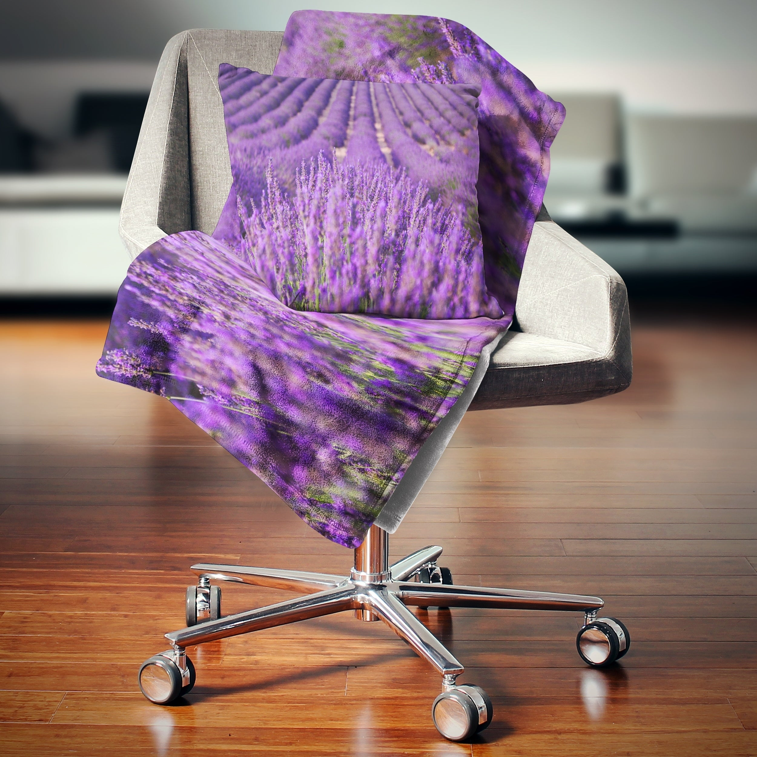 Designart Beautiful Fragrant Lavender Fields Floral Throw Blanket On Sale Overstock 20917439
