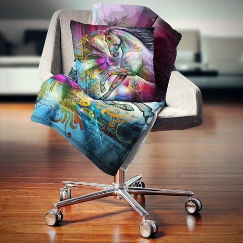 Designart 'Horse over Colorful Abstract Image' Animal Throw Blanket