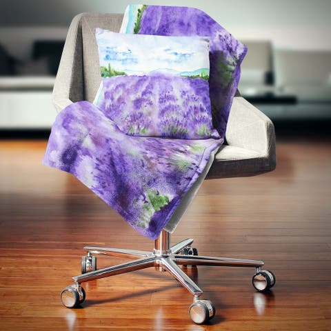Designart 'Lavender Fields Watercolor' Landscape Fleece Throw Blanket