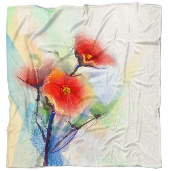 Designart Red Poppy Flowers On Grunge Back Floral Throw Blanket On Sale Overstock 20917899 59 In X 71 In