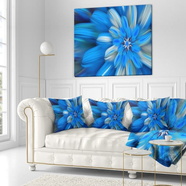 Designart Exotic Dance Of Blue Flower Petals Floral Throw Blanket On Sale Overstock 20918199 71 In X 59 In