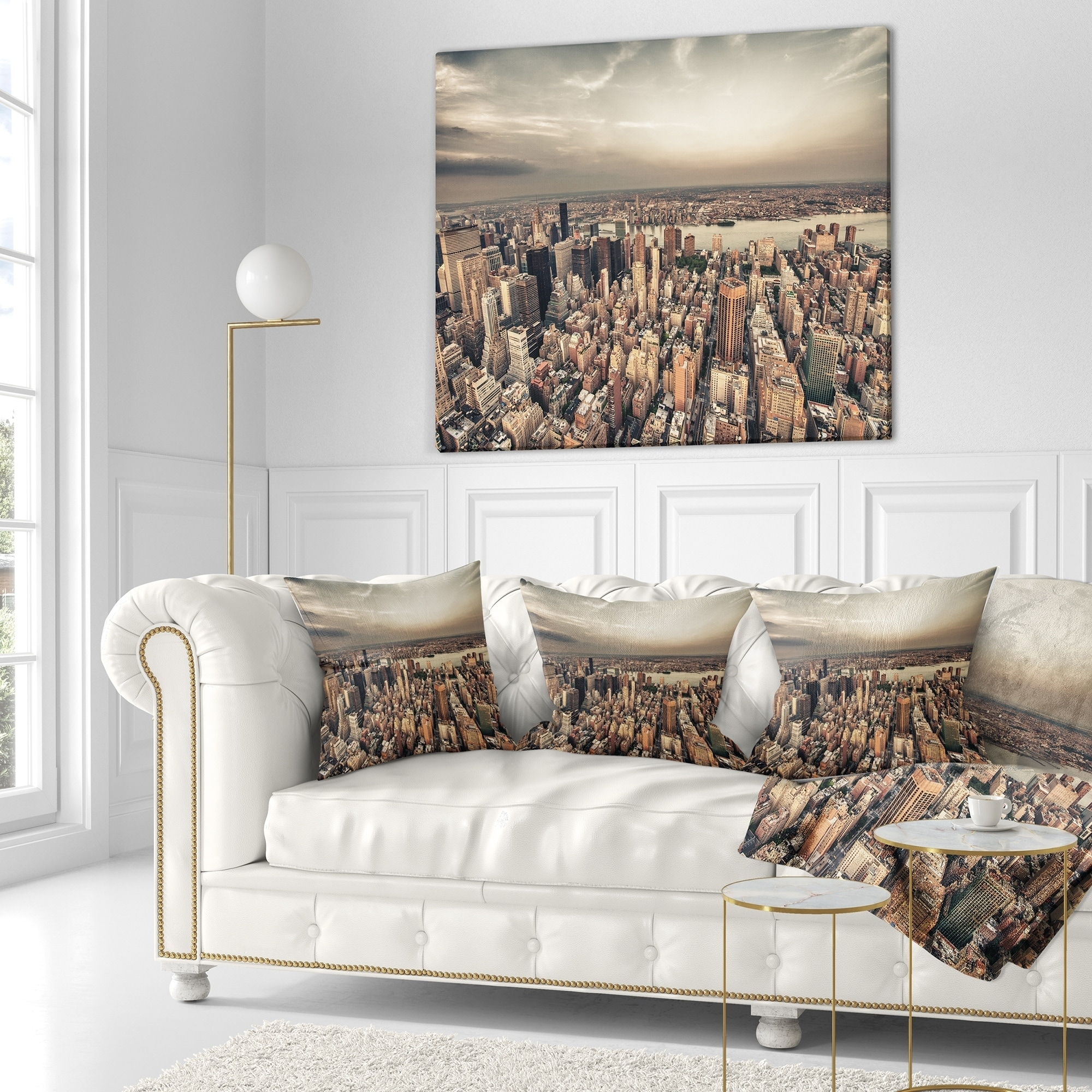 Designart Manhattan Skyscrapers Aerial View Modern Cityscape Throw Blanket On Sale Overstock 20918303 71 In X 59 In