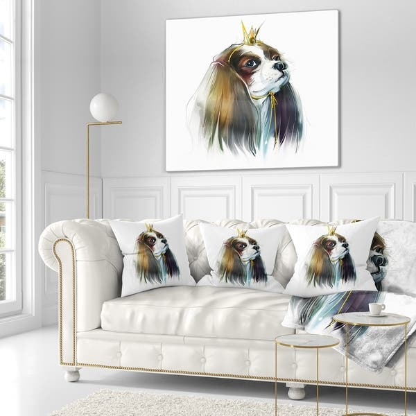 Designart Cute Little Dog In Crown Animal Throw Blanket On Sale Overstock 20918552 71 In X 59 In