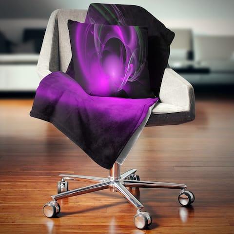 Designart 'Purple Fractal Galactic Nebula' Abstract Throw Blanket