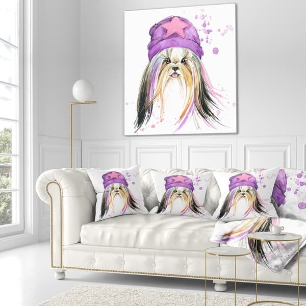 Designart Stylish Puppy With Purple Hat Animal Throw Blanket On Sale Overstock 20918826 59 In X 71 In
