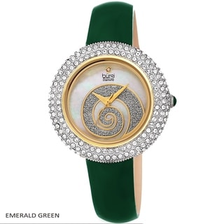 Burgi Ladies Diamond Swarovski Crystals Glitter Swirl Leather Strap Watch