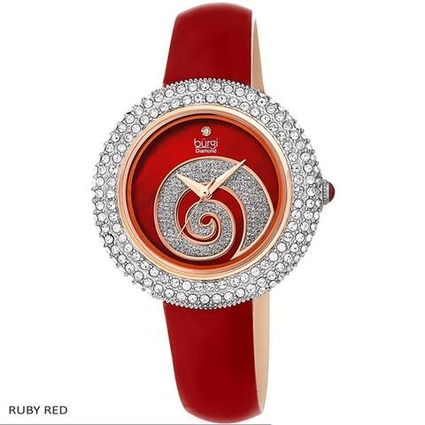Burgi Ladies Diamond Swarovski Crystals Glitter Swirl Leather Strap Watch