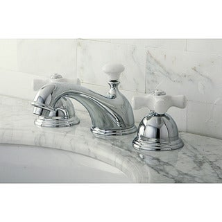 Restoration Porcelain Handles Chrome Widespread Bathroom Faucet