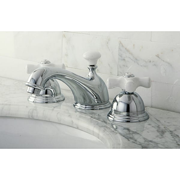 Restoration Porcelain Handles Chrome Widespread Bathroom Faucet ...
