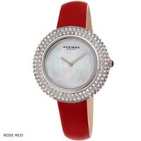 Akribos XXIV Ladies Crystal Swarovski elements Studded Fashion Leather Strap Watch