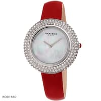 Akribos XXIV Ladies Crystal Swarovski Studded Fashion Leather Strap Watch