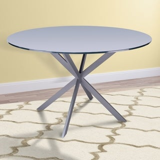Armen Living Mystere Modern Dining Table in Grey Powder Coated finish with Grey Tempered Glass Top - N/A