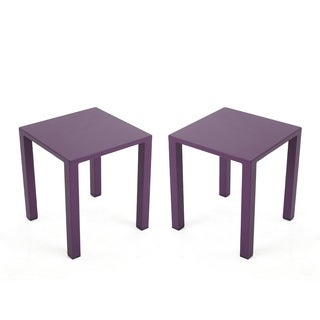 Windsdor Outdoor Aluminum 16-inch Square Side Tables (Set of 2) by Christopher Knight Home