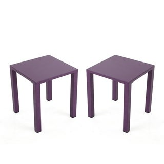 "Windsdor Outdoor Modern Aluminum Side Tables (Set of 2) by Christopher Knight Home - 15.70"" W x 15.70"" D x 18.00"" H"