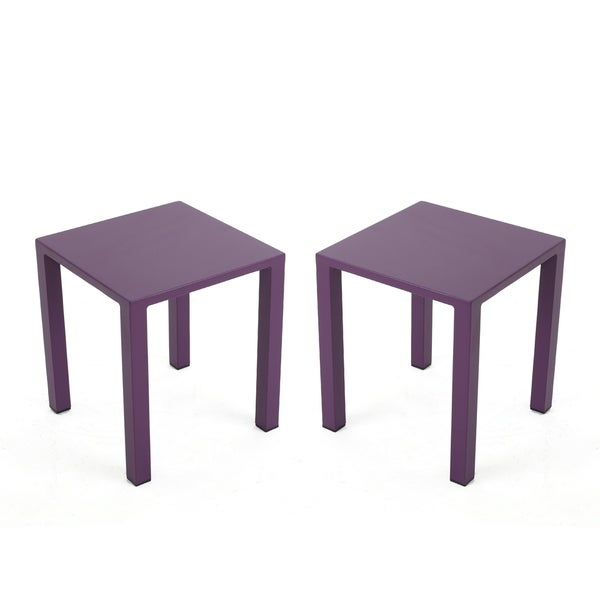 """Windsdor Outdoor Modern Aluminum Side Tables (Set of 2) by Christopher Knight Home - 15.70"""" W x 15.70"""" D x 18.00"""" H"""