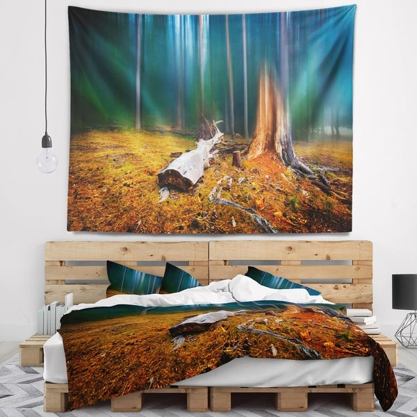 Designart 'Blue Forest on Foggy Morning' Landscape Wall Tapestry