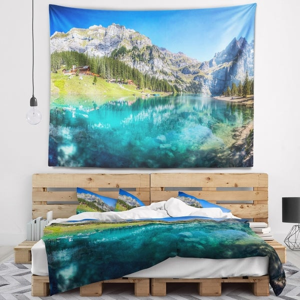 Designart 'Lake Oeschinen Switzerland' Landscape Wall Tapestry