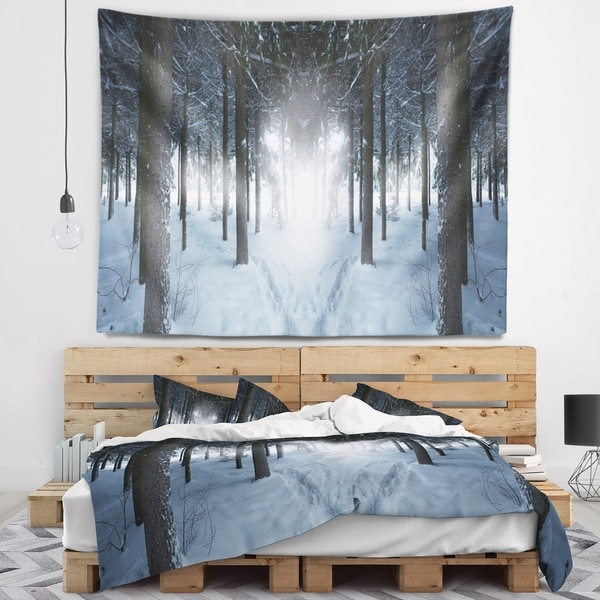 Designart 'Winter Forest with Dark Woods' Landscape Wall Tapestry