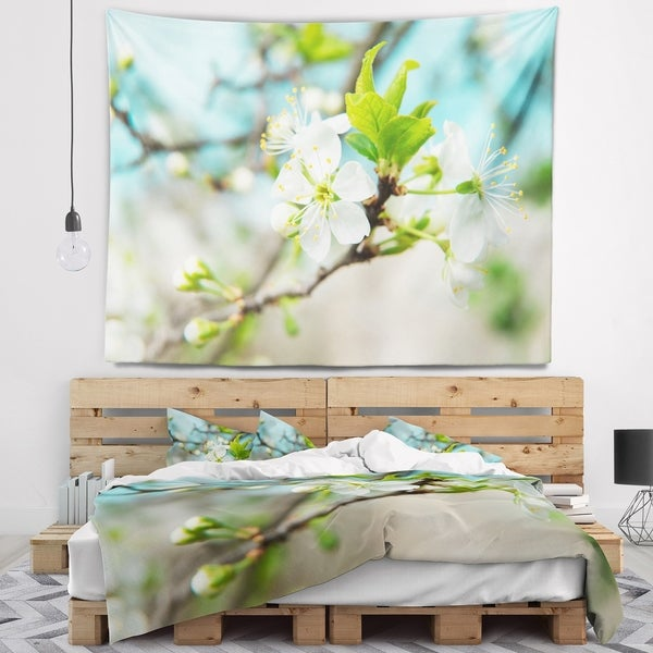 Designart 'Beautiful Cherry Blossom n Spring' Floral Wall Tapestry