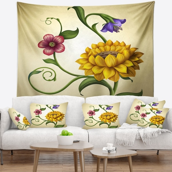 Designart 'Flowers and Leaves Illustration' Floral Wall Tapestry