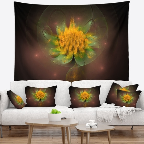 Designart 'Fractal Yellow Flower on Black' Floral Wall Tapestry