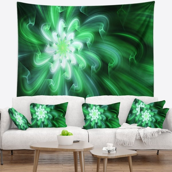 Designart 'Large Green Exotic Flower Petals' Floral Wall Tapestry