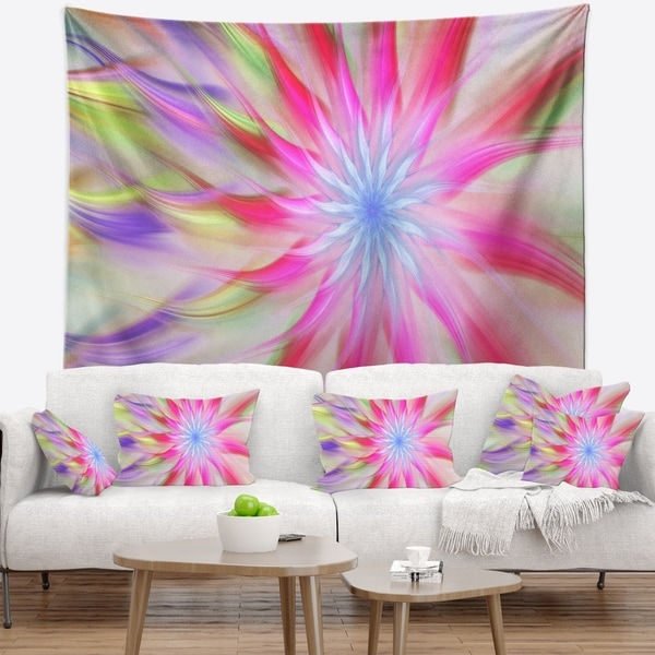 Designart 'Dance of Pink Exotic Flower' Floral Wall Tapestry