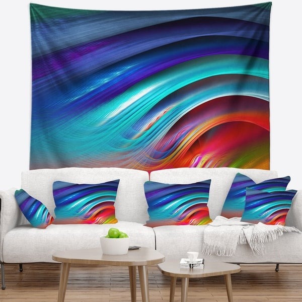 Designart 'Beautiful Fractal Rainbow Waves' Floral Wall Tapestry