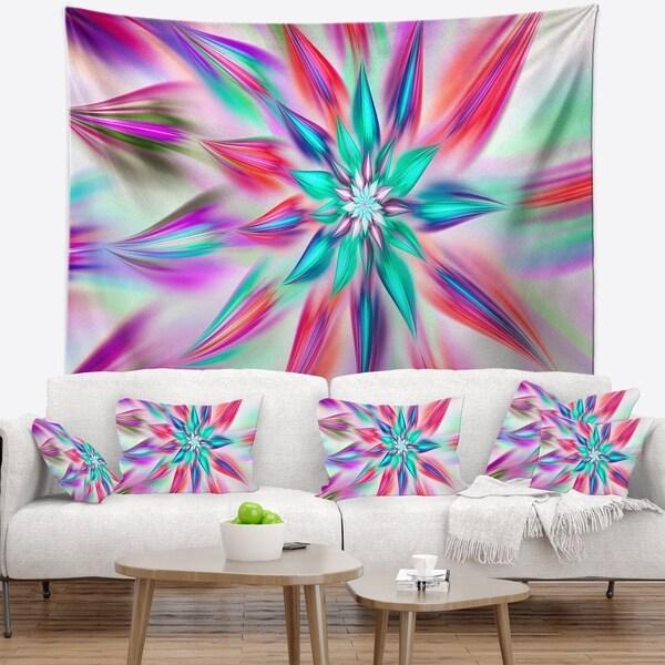 Designart 'Dancing Pink Flower Petals' Floral Wall Tapestry