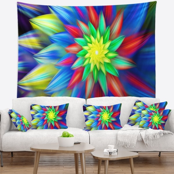 Designart 'Dance of Bright Multi Color Flower' Floral Wall Tapestry