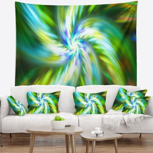 Designart 'Beautiful Green Flower Petals' Floral Wall Tapestry