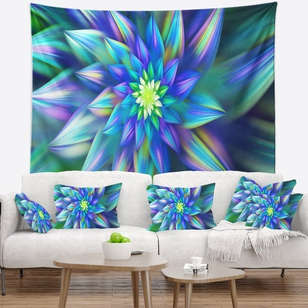 Designart 'Huge Light Blue Fractal Flower' Floral Wall Tapestry