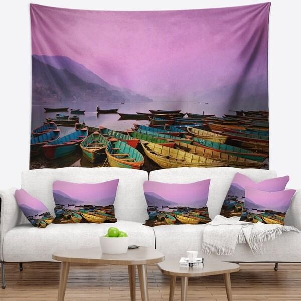 Designart 'Boats under Twilight Sky in Phewa' Boat Wall Tapestry