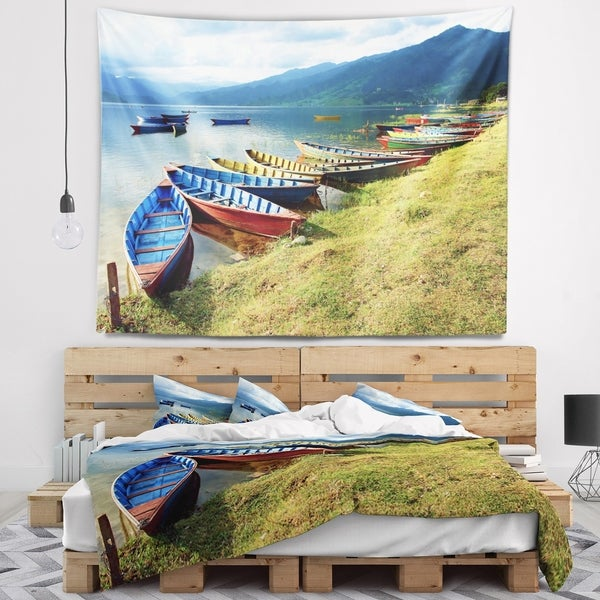 Designart 'Color Boats in Phewa Lake' Boat Wall Tapestry