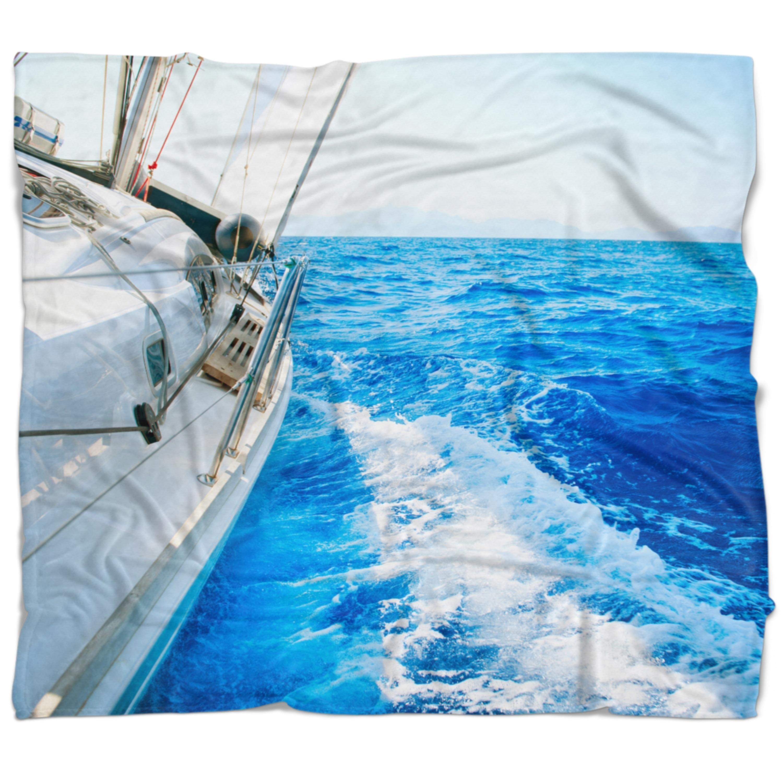 Designart White Sailing Yacht In Blue Sea Seashore Throw Blanket Overstock 20919543