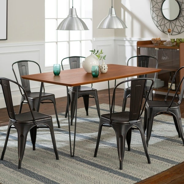 shop 7 piece hairpin dining set walnut black free shipping today 20919572. Black Bedroom Furniture Sets. Home Design Ideas