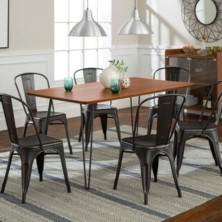 Square Hairpin 7 Piece Dining Set w/ Café Chairs - Walnut/Black