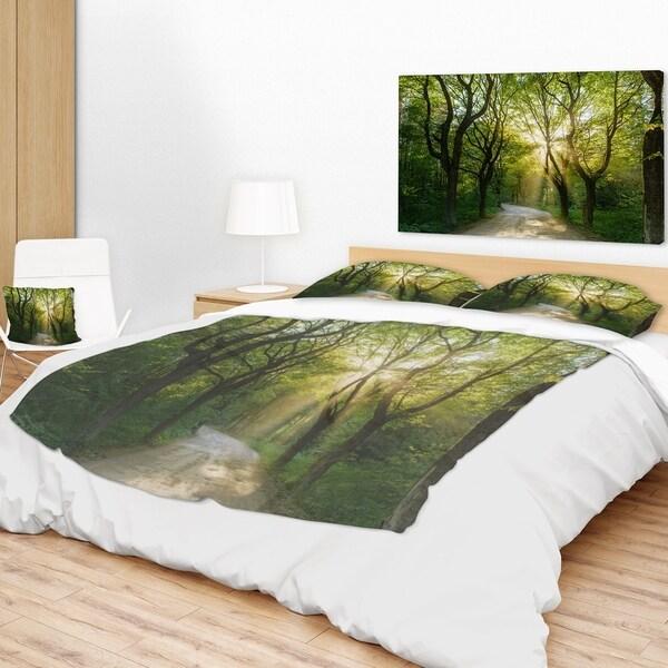 Designart 'Evening In Green Forest' Landscape Fleece Throw Blanket Mesmerizing Forest Green Throw Blanket
