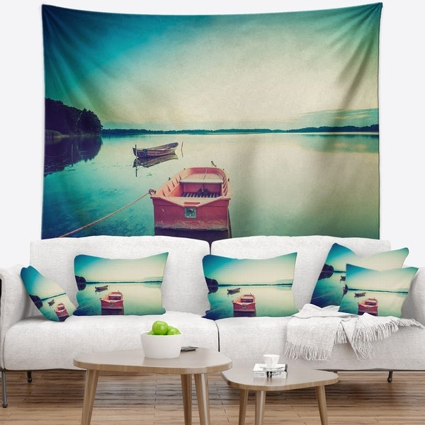 Designart 'Pink Boat in Vintage Lake' Boat Wall Tapestry