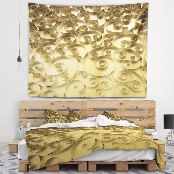 Designart '3D Golden Curly Background' Abstract Wall Tapestry