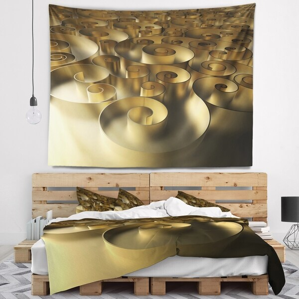 Designart 'Golden Curly Abstract 3D Design' Abstract Wall Tapestry