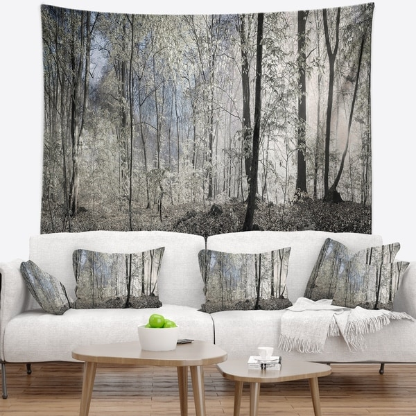 Designart 'Dark Morning in Forest Panorama' Landscape Wall Tapestry